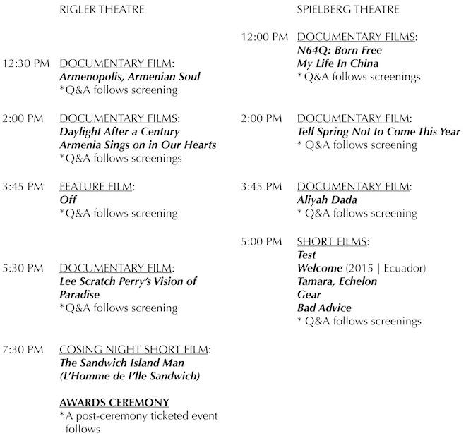 2015 Arpa International Film Festival Program Schedule Is